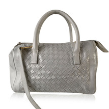 Authentic Bottega Veneta White Intrecciato Leather Woven Boston Bag with... - $425.70