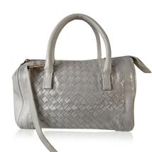 Authentic Bottega Veneta White Intrecciato Leather Woven Boston Bag with... - $425.70