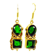 classy Emerald CZ Gold Plated Green Earring genuine easily US gift - $14.84