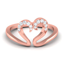 0.10Ct Rose Gold Valentine Gift Round Cut Diamond Ring Open Heart Ring Free Ship - $329.99