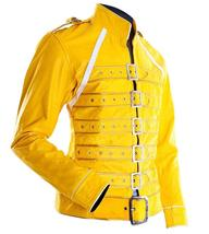 Womens Freddie Mercury Wembley Queen Tribute Concert Yellow Biker Leather Jacket image 2