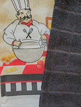 FAT CHEF KITCHEN SET 7pc Towels Pot Holders Dishcloths Black Red French Cook image 4
