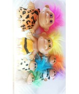Lot Of 6 CAVEMAN TROLL DOLLS Vintage Collection With Clothes - $140.22