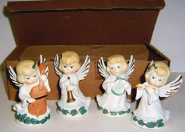 Set of 4 Small Vintage Porcelain ANGEL Musician Figurines IOB - $18.00