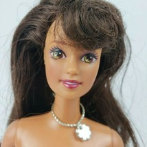 Nude Barbie Vtg Teresa light Brown Eye Doll brunette bangs flower necklace 90s - $7.92