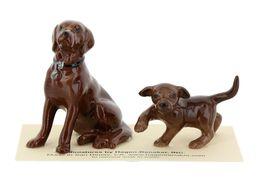 Hagen Renaker Dog & Puppy Labrador Retriever Chocolate Ceramic Figurine Set image 3