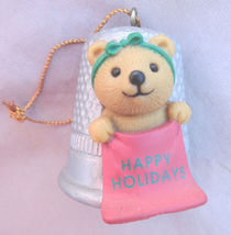 Happy Holidays Teddy Bear Thimble Christmas Mini Ornament Hallmark - $6.99