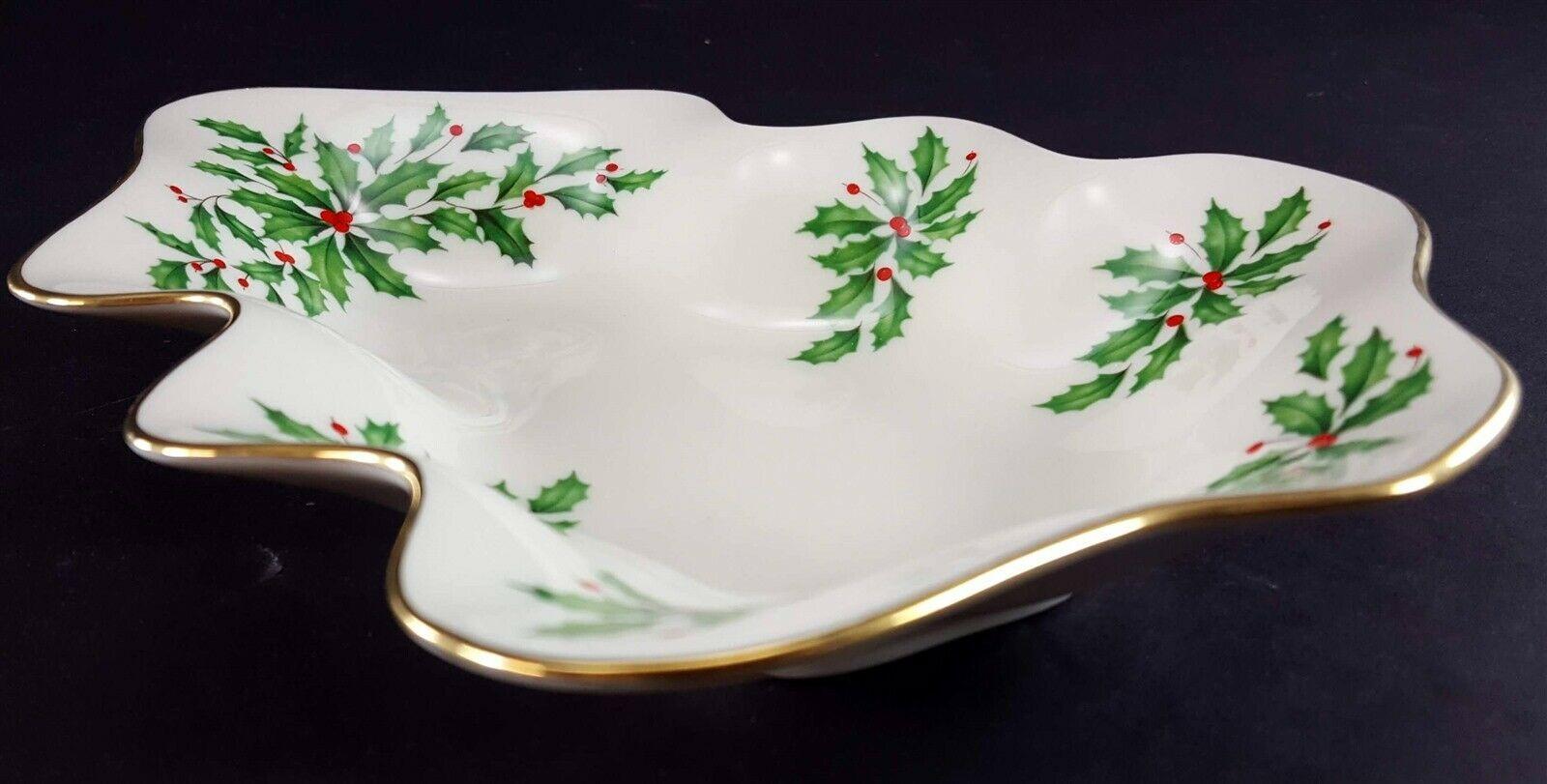 "LENOX China Holiday Dimension (Two) Tree Shaped Dish 8-3/4"" & 5-5/8"" Candy/Nuts"
