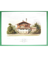 ARCHITECTURE COLOR PRINT : Potsdam Hunting Lodge Glienecke Swiss Villa F... - $30.38