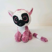 TY Lee Ann Lemur Plush Stuffed Animal Beanie Boo Pink Sparkley Eyes Pink... - $12.78