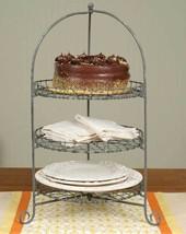 Three-Tier Cake Stand Tray Round Plate Napkin Dessert Vintage Rustic Ser... - $74.20