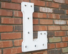 Letter L - SOLAR POWERED Rustic Vintage Metal Alphabet Marquee Light Up ... - $113.85+