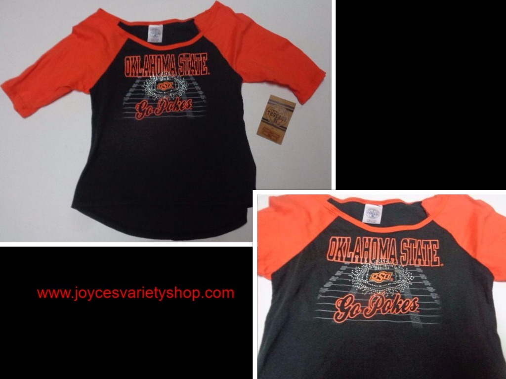 Primary image for Oklahoma State University GO POKES T-Shirt NWT Girl's Youth 7/8 OSU