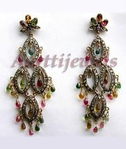 Victorian 2.25ct Rose Cut Diamond Tourmaline Lovely Earrings Vintage VTJ... - $775.27