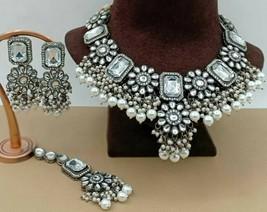 Indian Bollywood Black Silver Plated Pearl Choker Kundan Necklace Earrings Set - $59.39