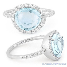 3.06ct Fancy Blue Topaz Round Cut Diamond Halo Right-Hand Ring 14k White... - €966,38 EUR