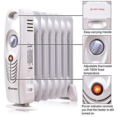 111b10deac6 ... COSTWAY Oil Filled Radiator Heater Mini Space Heater Portable Electric  Heater Ro ...