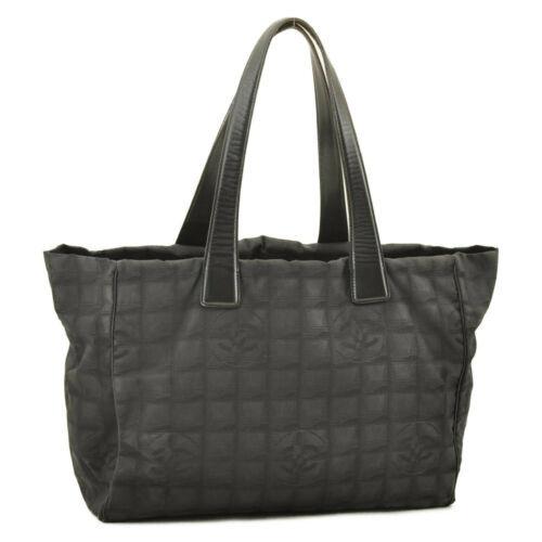 CHANEL New Travel Line Tote Bag Black CC Auth 10653 **TEAR