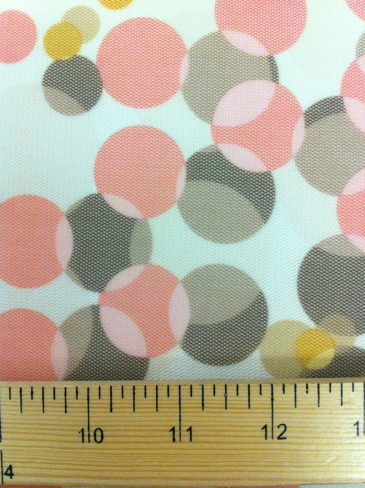 Multi-Size Pastel Dots on Light Yellow Stretch Sheer Poly Spandex Mesh Fabric