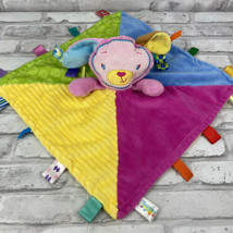 Taggies Bunny Rabbit Lovey Security Sensory Blanket Pink Yellow Blue Gre... - $16.39