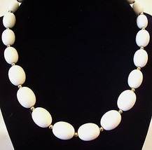 MONET White OVAL Beads Necklace CHOKER Gold Plated Spacers Vintage Estat... - $16.82