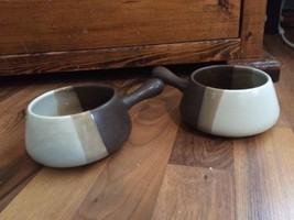 McCoy Pottery Sandstone Handled Soup Bowl set of Two Striped Tan & Brown - $27.69