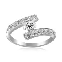 Sterling Silver Rhodium Finished White Cubic Zirconia Overlap Toe Ring - $26.73