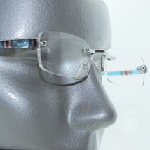 Frameless Metro Tech Blue Stripe Trim Petite Reading Glasses +1.50 - $18.00