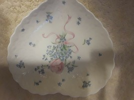"""MIKASA """"Always and Forever"""" HART shaped dish floral print scalloped text... - $3.33"""