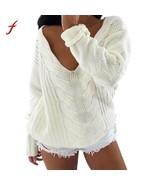 2018 Women Long Sleeve V Neck Top Sweater Pullover Loose Jumper Knitwear... - $38.78+