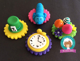 Alice in wonderland inspired fondant  toppers - $37.00