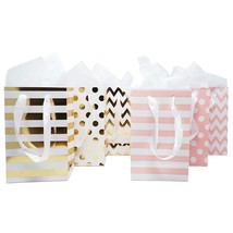 """12 Pink Gold Foil Paper Gift Bags Tissue Paper Satin Ribbon Handles 8.5""""... - $16.91"""