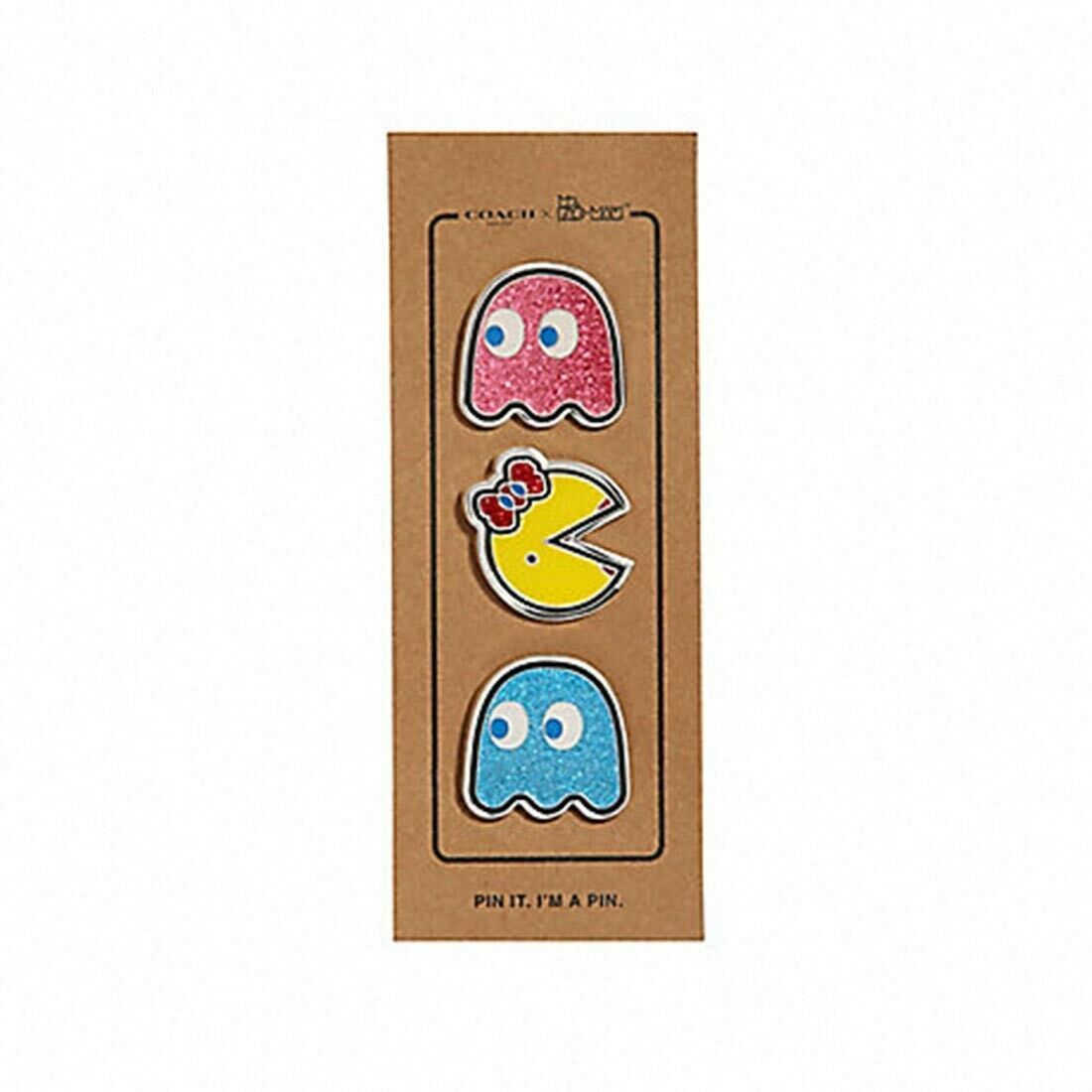 NWT COACH Pac-Man Pin Set Multi Color Set of 4 Silver Hardware Glitter F73502 - $31.68