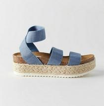 NEW $70 Steve Madden Kimmie Espadrille Platform Sandals in Dusty Blue 6 - $36.63