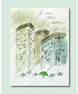 Handmade Card Watercolor, Apology, Romance Love, City Rainy Day Illustra... - $4.25