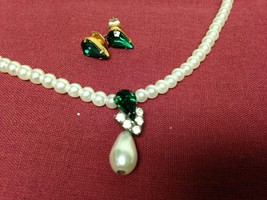 Vintage, Faux White Pearl  With Green Teardrop Pendant, Y Necklace n Ear... - $12.30