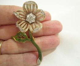 Vintage Enamel Nolan Miller Rhinestone Flower Brooch Pin Beige Tan Glamour Coll - $18.32
