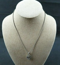 "Signed TRIFARI Silver Tone Chain Rhinestone Alligator Pendant Necklace 17 1/2"" - $19.99"