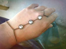 Bohemian Slave Bracelet Crystal Slave Bracelet Antique Brass Hand Chain ... - $46.00