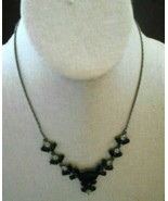"""Avon Black Beads Clear Rhinestone 8 """" Small Signed Necklace - $9.46"""