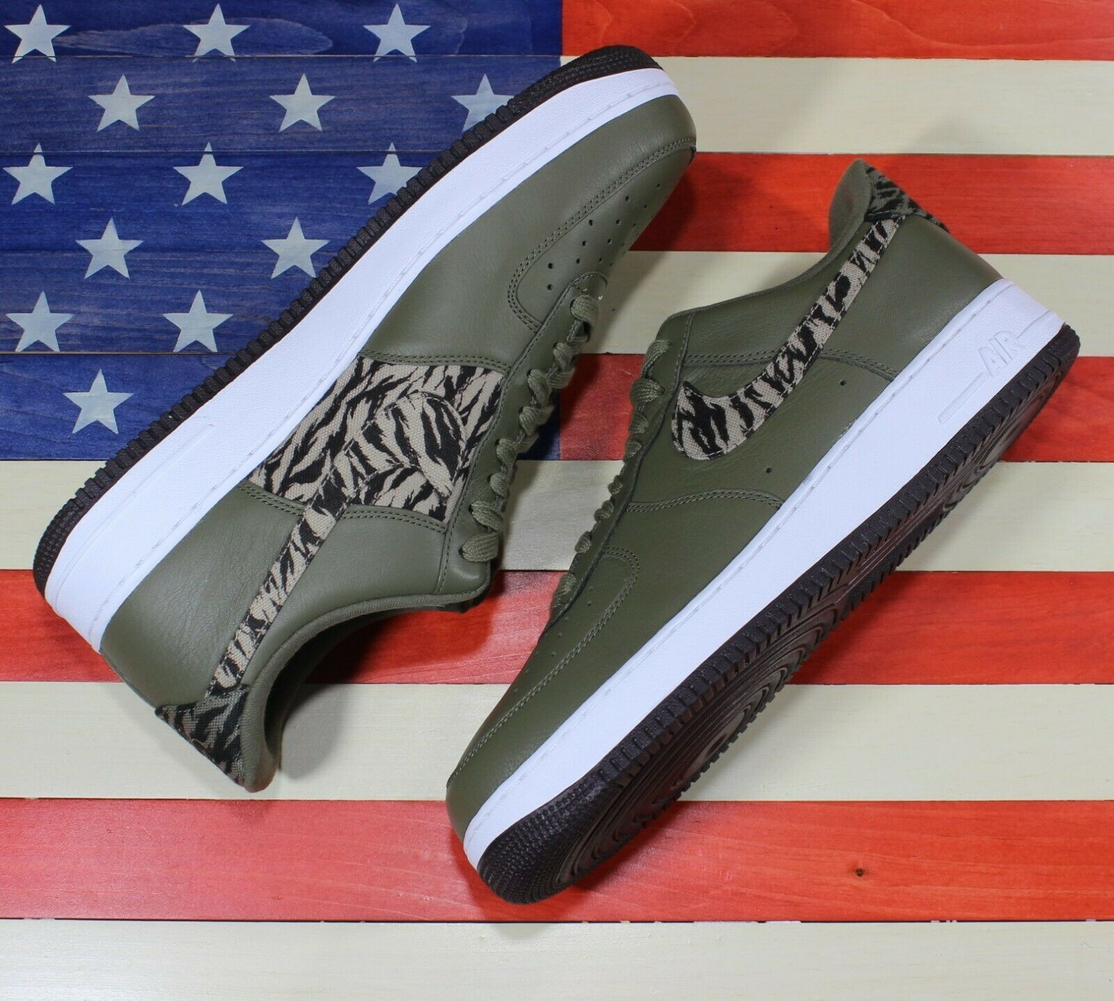 Nike Air Force 1 One Low AOP Basketball Shoes Olive-Green/White [AQ4131-200]- 13 image 7