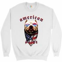 American Pride Pit Bull Sweatshirt US Flag Bandana Patriotic Dog Lover C... - $19.11+
