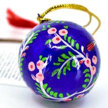 Asha Handicrafts Hand Painted Papier-Mâché Blue Bird Holiday Christmas Ornament  image 3