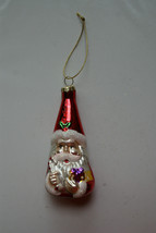Older Holiday Decor Shiny Glitter Christmas Ornament Santa Claus Present... - $6.99