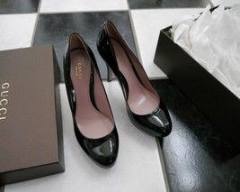 NIB 100% Auth Gucci Black Patent Leather Platform Heel Pump 309999 Sz 38... - $295.02
