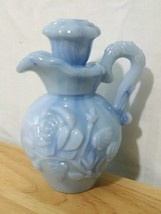 Vintage AVON 1978 Blue Slag with Roses Stoppered Soap Bottle NO Underplate - $9.89