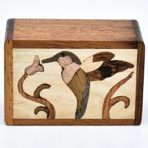 Northwoods Wooden Parquetry Hummingbird Bird at Flower Mini Trinket Box image 2
