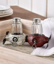 Propeller Shaped Salt & Pepper Holder Polyresin w Set of 2 Glass Shakers