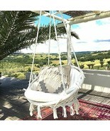 Knitted Hammock Chair Macrame Swing Indoor/Outdoor, 265LB Capacity - New - £36.32 GBP