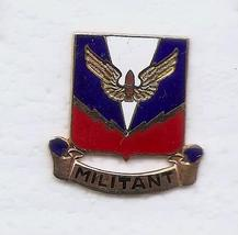 """US Army Air Defense Artillery School """"Militant"""" Used Ira Green DI Crest Hat Pin - $3.00"""